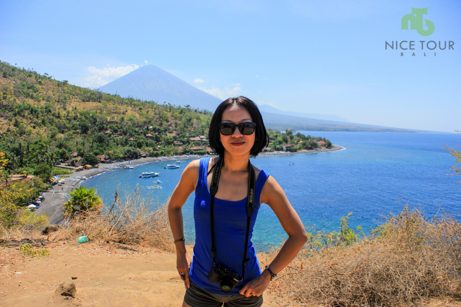 Angie at Amed, viewpoint, Bali